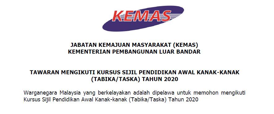 Permohonan Guru Tabika Jabatan Kemajuan Masyarakat Kemas 2020 Appjawatan Malaysia