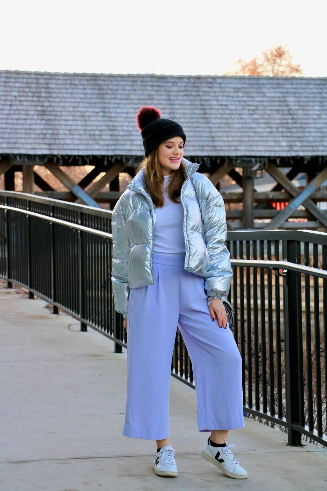 Nyc fashion blogger Kathleen Harper wearing a lavender pants outfit.