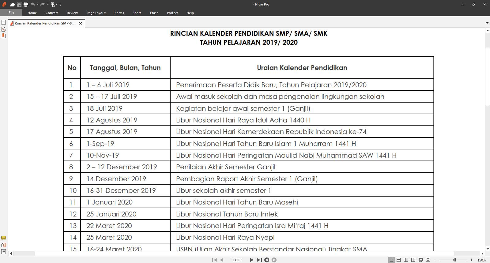 Kalender Pendidikan Nasional Tahun Pelajaran 2019/ 2020