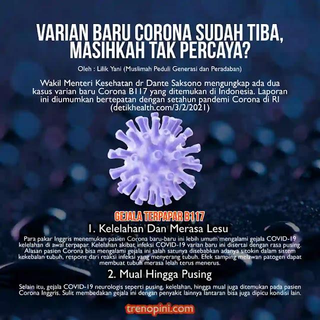 Wakil Menteri Kesehatan dr Dante Saksono mengungkap ada dua kasus varian baru Corona B117 yang ditemukan di Indonesia. Laporan ini diumumkan bertepatan dengan setahun pandemi Corona di RI.