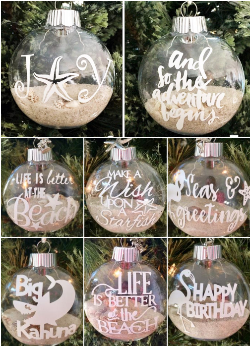 Filled Beach Quote Ornaments
