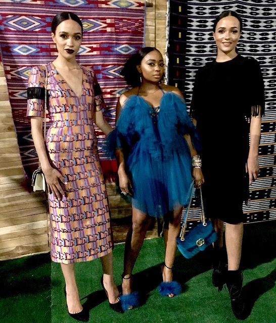 Eku Edewor, her twin sister and friend, Tracie Nwapa pictured at LFDW