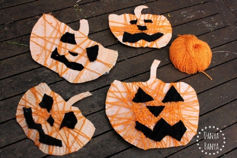 yarn wrapped paper plate pumpkins