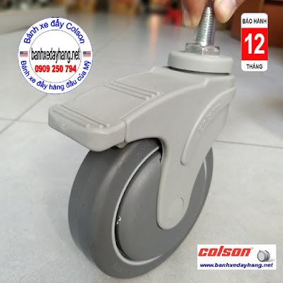 Bánh xe cao su ty ren có khóa Colson Mỹ phi 125 | STO-5854-448B RK4 www.banhxepu.net