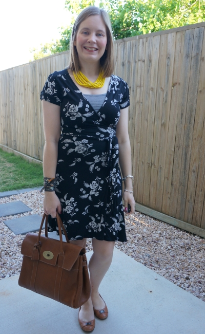 black floral wrap dress for office with mulberry heritage oak nvt bayswater bag and hermes twilly scarf bracelet | away from blue