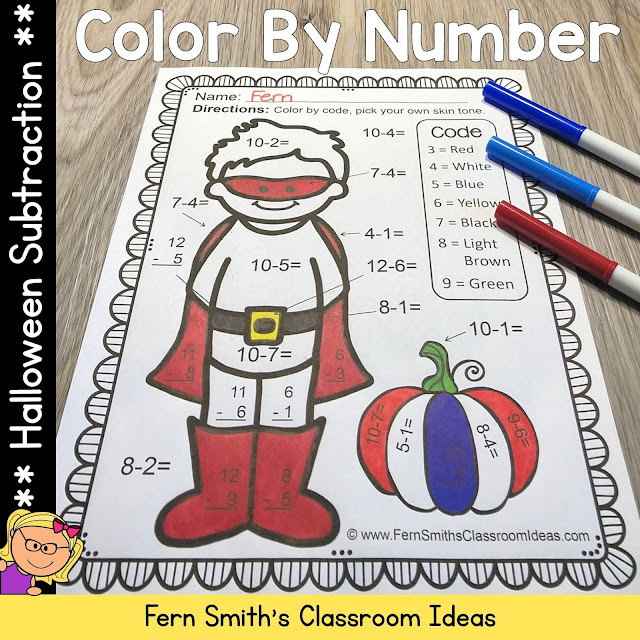 Halloween Color By Number for Some October Halloween Fun For Your Subtraction Math Lessons - For Kindergarten, First Grade and Second Grade - TeacherspayTeachers - #FernSmithsClassroomIdeas