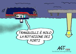 conta bis, nuovo governo, accordi europei, porti aperti, rotazione dei porti, Malta, migranti, redistribuzione, trattato di Dublino, vignetta, satira