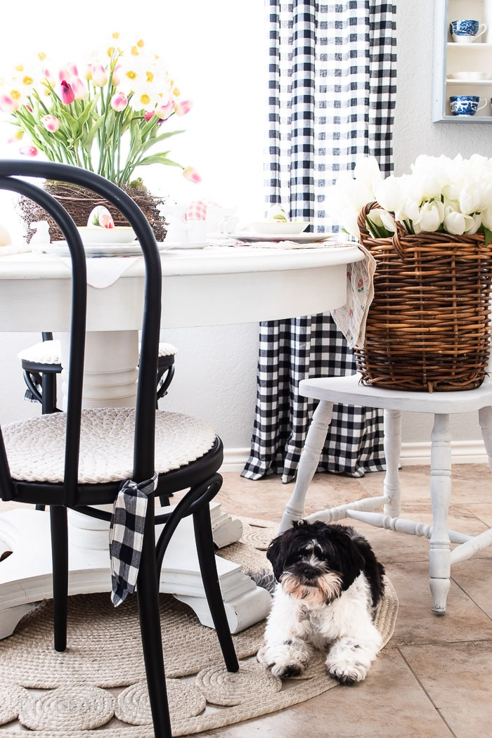 vintage Easter table and sweet pup