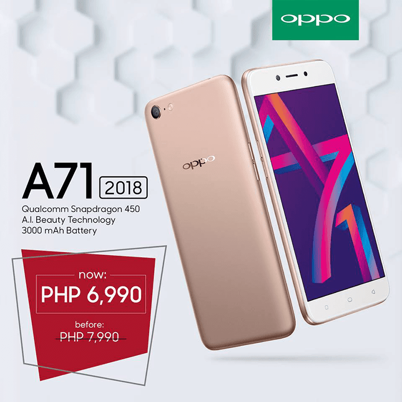 Sale Alert: OPPO A71 (2018) with SD450 is now priced at just PHP 6,990!