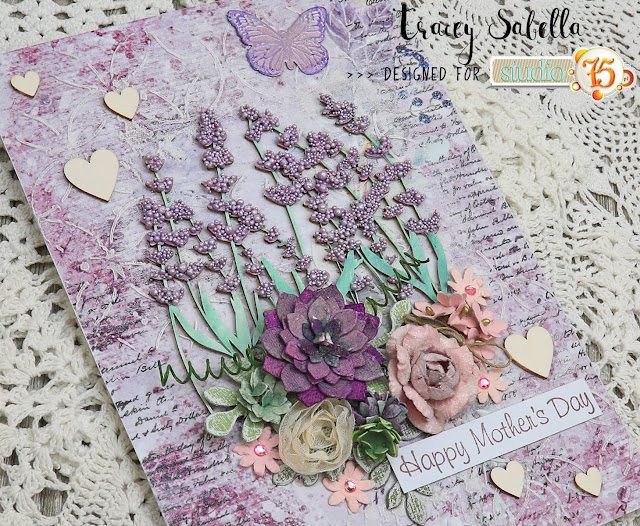 Mixed Media Mother's Day Card by Tracey Sabella for Studio75: #traceysabella #studio75 #scrapiniec #littlebirdiecrafts #acmoore #littlebirdiecraftsflowers #prills #finnabair #helmar #artanthology #mixedmedia #shabbychic #mixedmediaart #mixedmediacard #mixedmediacards #shabbychiccard #shabbychiccards #diycard #diycards #handcraftedcard #handcraftedcards #diycrafts #spring #springcard #handmadecard #handmadecards #mothersday #mothersdaycard #mothersdaycards