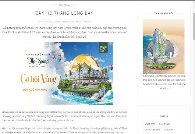 Mẫu website Căn hộ ven biển