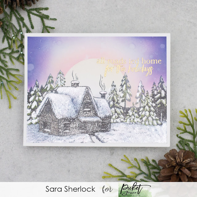 """Holiday or Christmas card, showcasing Picket Fence Studios new stamp set """"For the Holidays"""".  Background was ink blended using Distress Oxide inks, with colored pencils added for details."""