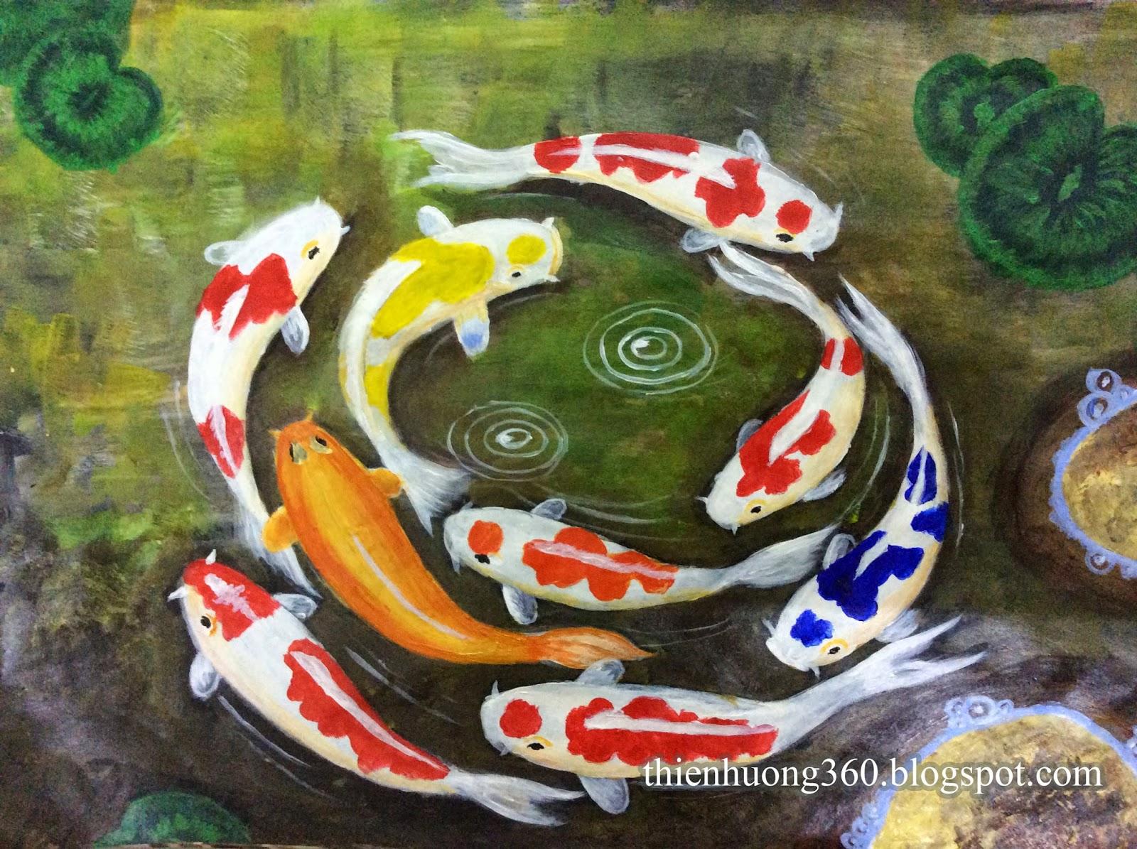 Cá chép và hoa sen: Vẽ bằng màu Acrylic