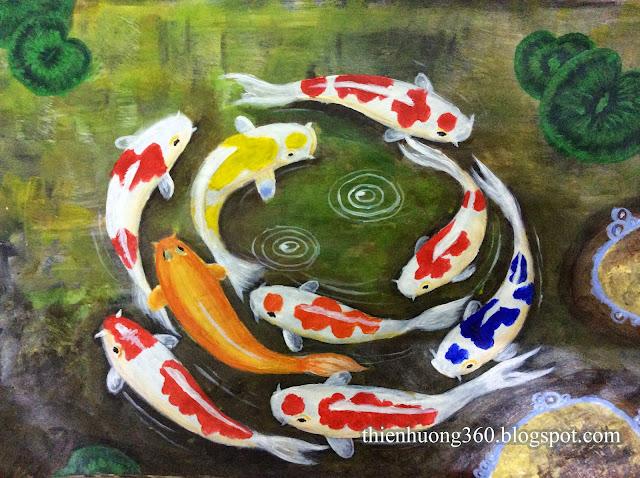 Viền nét và trang trí bố cục tranh Cửu ngư quần hội thêm sinh động