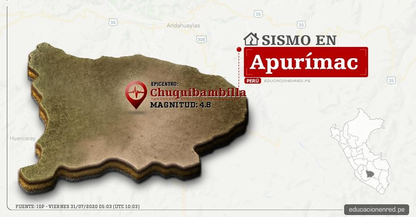 Temblor en Apurímac de Magnitud 4.8 (Hoy Viernes 31 Julio 2020) Sismo - Epicentro - Chuquibambilla - Grau - IGP - www.igp.gob.pe