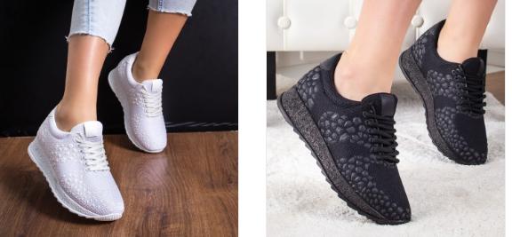Pantofi sport dama negri, albi moderni din material de primavara