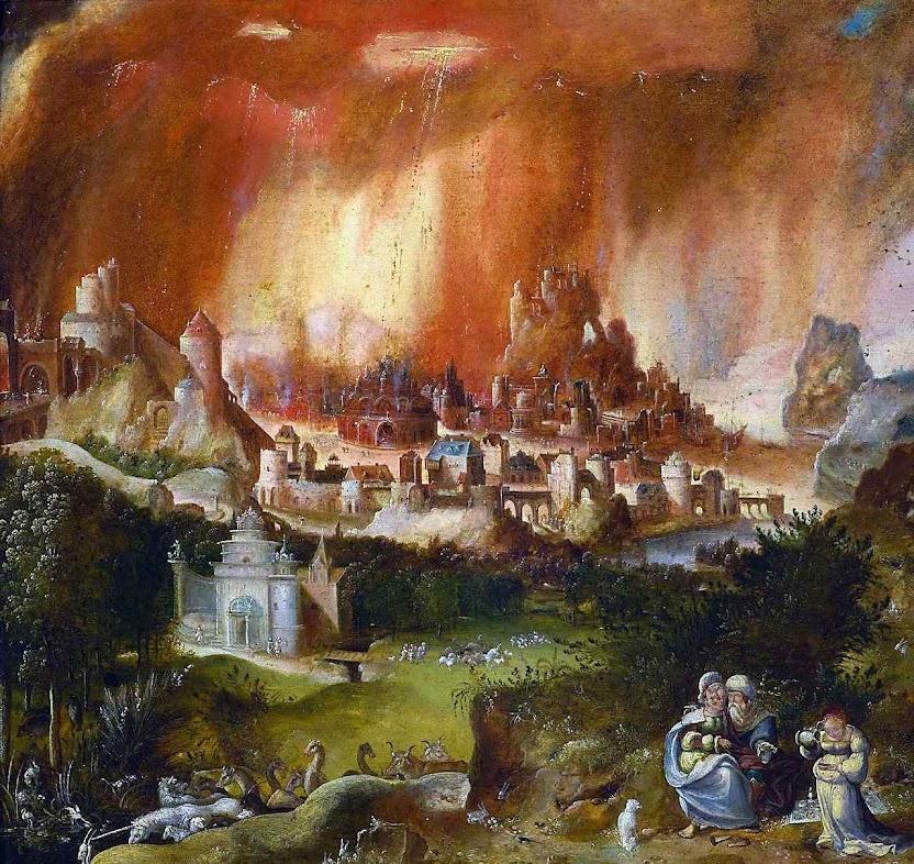 Sodoma e Gomorra em fogo, Herri met de Bles  (1510 – 1555), Museu Nacional de Varsóvia