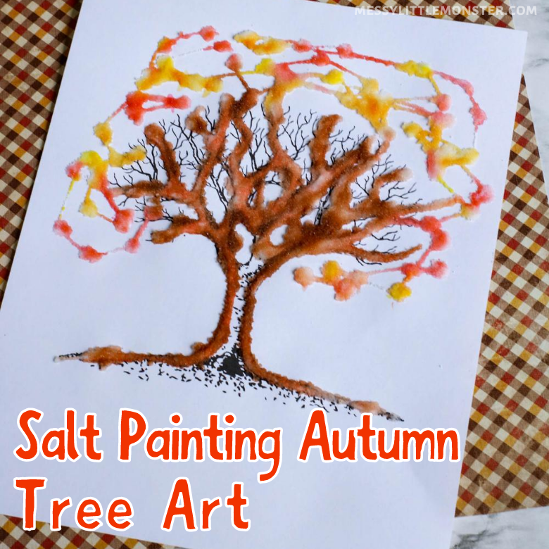 Salt painting autumn tree art