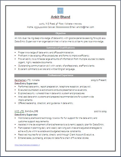 resume blog co resume sample of data entry supervisor in word