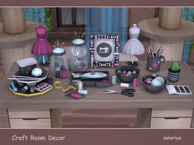 Craft Room Decor Швейный декор для The Sims 4 Декоративные элементы для вашей швейной или ремесленной комнаты. Включает в себя 13 предметов. Имеет 3 цветовые палитры, 4-6 цветовых вариаций для каждого объекта. Категория Декоративные - Беспорядок для каждого объекта. Предметы в наборе: - две банки с нитками - две миски с нитками - организатор бисера - рамка с нитками - подушечка для булавок - кнопки - карандаши - поставки - ленты - мини манекен - ножницы. Автор: soloriya