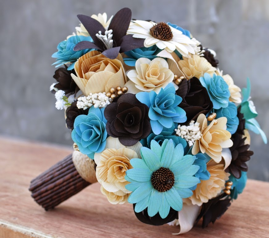 Brown Wedding Flowers: Chocolate Brown And Robin's Egg Blue Wedding: Bouquets And