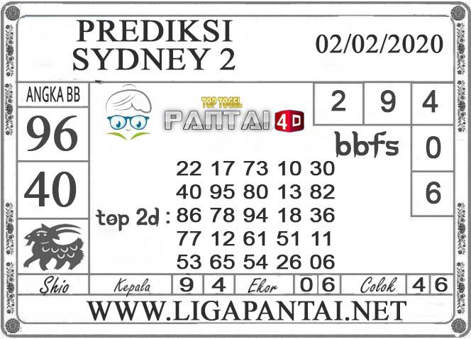 PREDIKSI TOGEL SYDNEY 2 PANTAI4D 02 FEBRUARI 2020