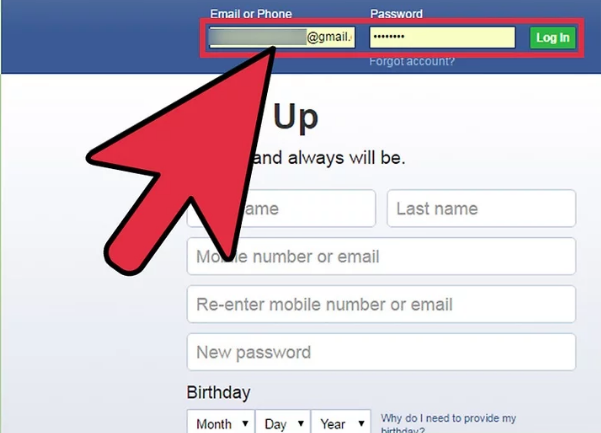 Sign into your Facebook