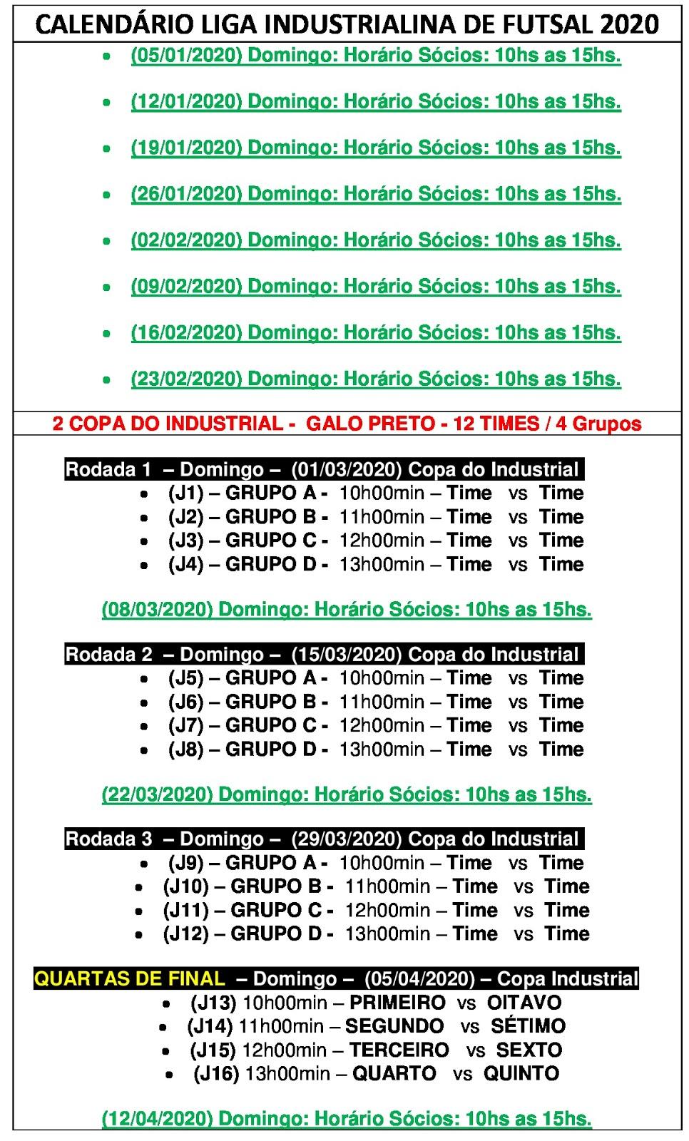 Calendario 2020 Liga.Liga Industrialina Futsal Calendario 2020