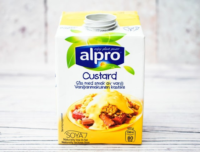 a tub of vegan custard