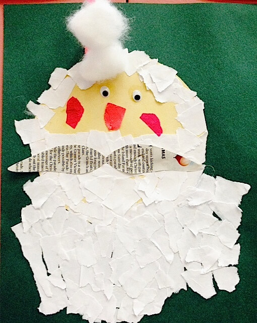Santa Art: Torn paper with a newspaper moustache.