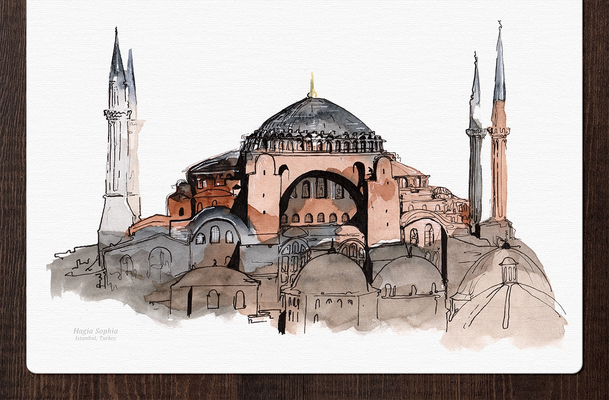 06-Hagia-Sophia-Turkey-Mucahit-Gayiran-Architectural-Landmarks-Mixed-Media-Art-Part-2-www-designstack-co
