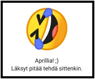 """Lehdessä ollut kuva, jossa naurava emoji ja teksti: """"Aprillia! ;-)  Läksyt pitää tehdä sittenkin."""""""