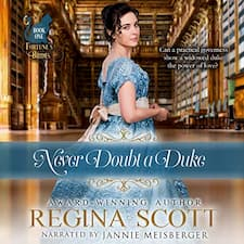 Never Doubt a Duke audiobook cover. A brunette woman in an elegant blue gown glances back over her shoulder, and behind her is a grand library. A teal silhouette of a cat in the top left corner marks this book out as the first in the Fortune's Brides series.