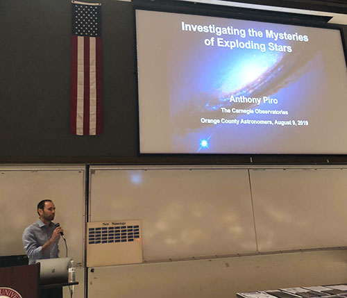 Professor Piro, Carnegie Observatories, explains the mystery of exploding stars at OCA general meeting (Source: Palmia Observatory)