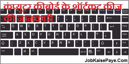 Information about computer keyboard shortcut keys