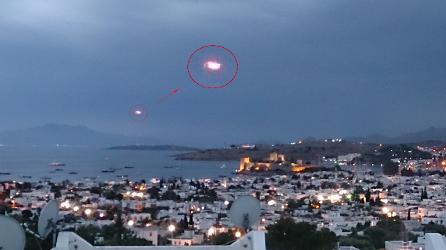 Strange UFO visits a Turkish town and is filmed by local.