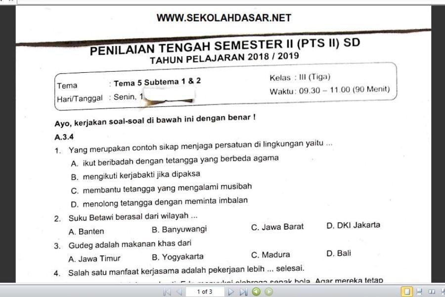 Soal Ulangan Kelas 3 Tema 5 Subtema 1 Dan 2