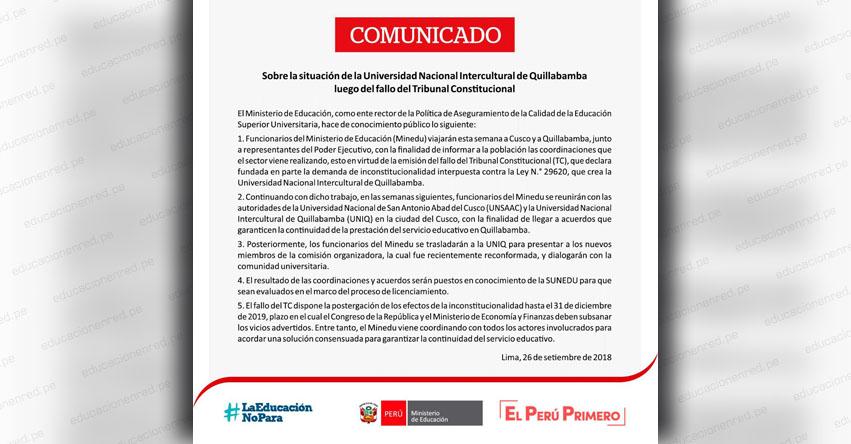 COMUNICADO MINEDU: Sobre la situación de la Universidad Nacional Intercultural de Quillabamba luego del fallo del Tribunal Constitucional - www.minedu.gob.pe