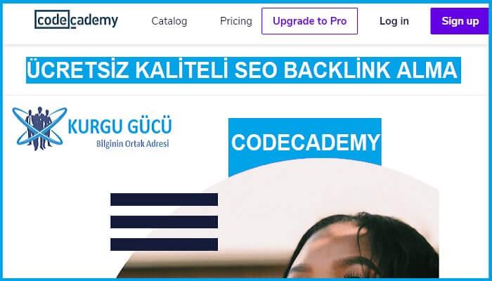 Codecademy.com'dan Ücretsiz SEO Backlink Alma Yöntemleri - Kurgu Gücü