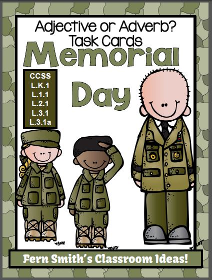 Fern Smith's Classroom Ideas Memorial Day Themed Task Cards for Adjective or Adverb? for Common Core!