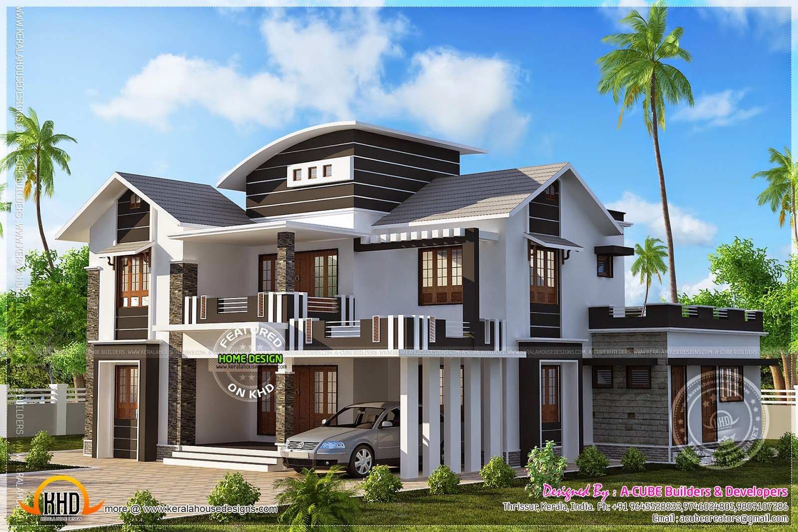 2601 square feet modern mix house kerala home design and for Images of front view of beautiful modern houses