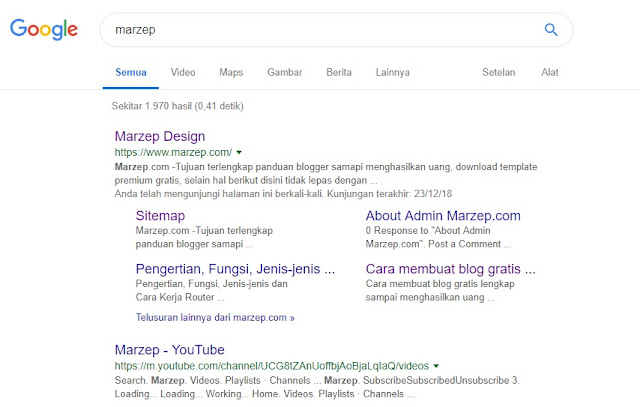 Cara Membuat dan Mendapatkan Sitelink Blogger dari Penelusuran Google