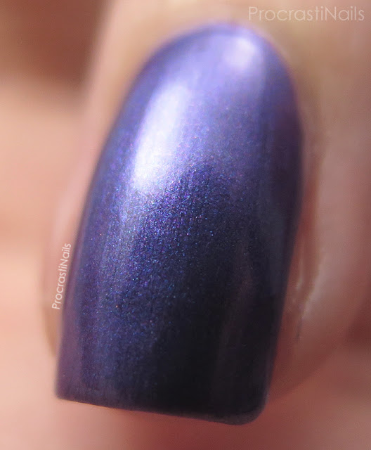 Macro of Dollarama Mariposa Purple Shimmer Nail Polish