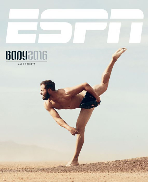 Chicago Cubs pitcher Jake Arietta looks spectacular on the cover of the 2016 ESPN Magazine Body Issue