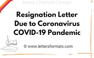 resignation letter due to coronavirus pandemic