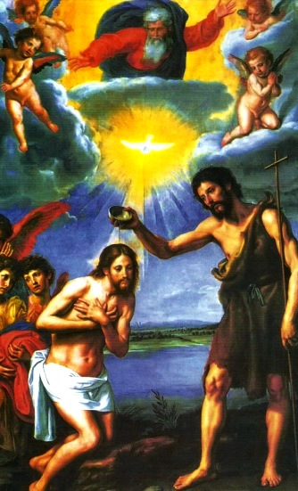 Imagen del bautizo de Jesús en el Río Jordán a colores para niños