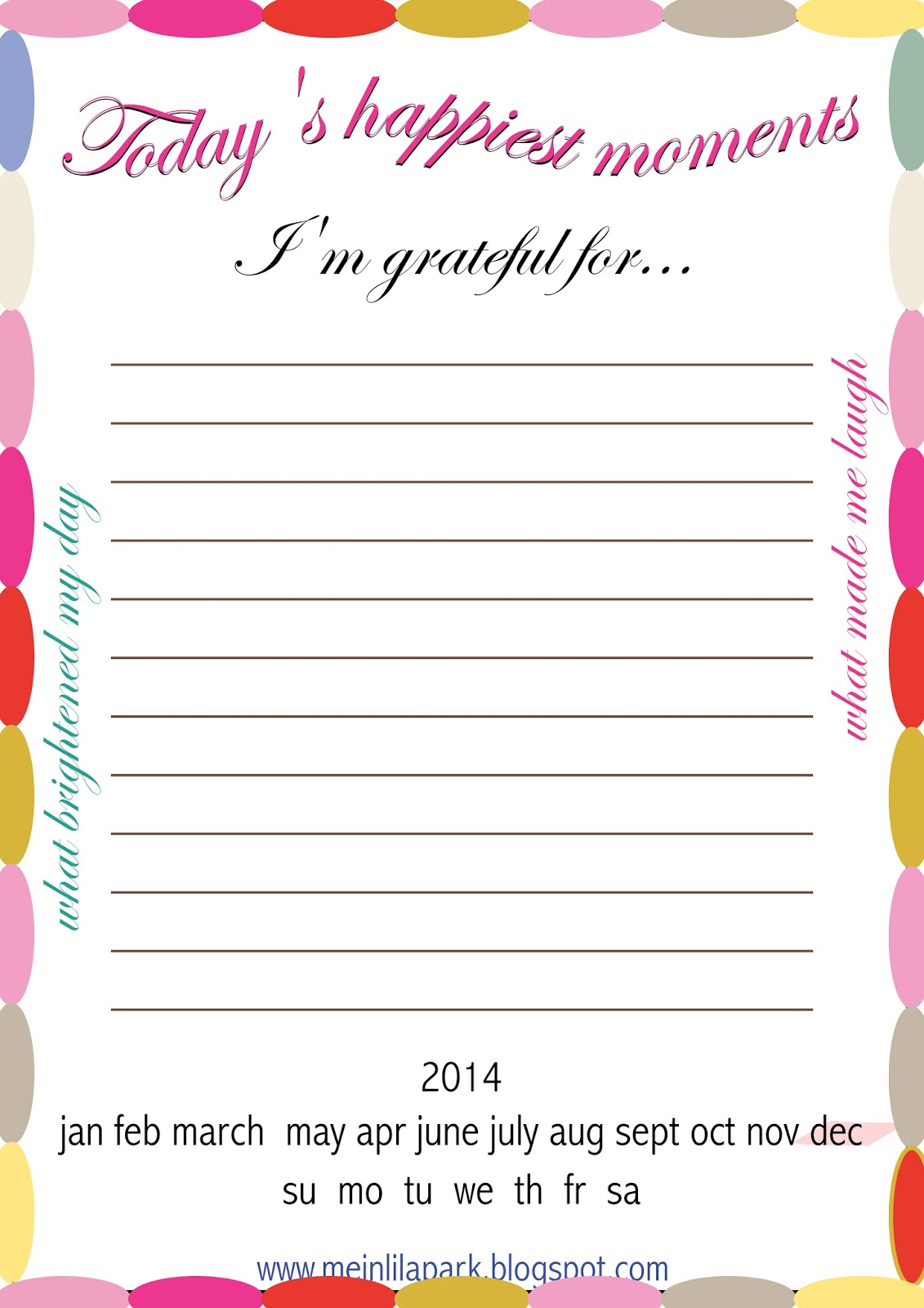 Free Printable Gratitude Journal Page