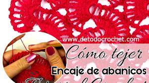 Cómo tejer Encaje de abanicos a Crochet / Tutorial en español