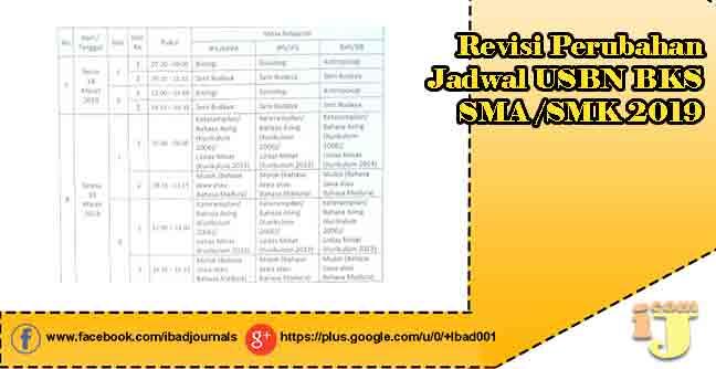 Revisi Perubahan Jadwal USBN BKS SMA/SMK 2019