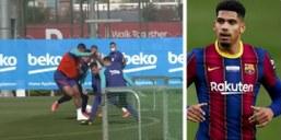 Video: Araujo pulls off impressive nutmeg on Dest in Barcelona training